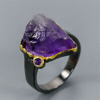 Amethyst Ring Silver 925 Sterling Rough gemstone Jewelry Size 8.25 /R137644