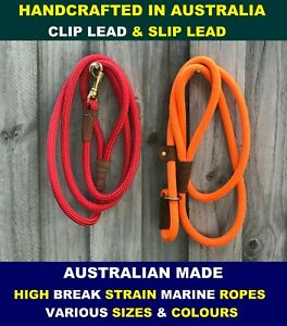 Clip & Slip Dog Lead Leash Collar Round Marine Ropes AUSTRALIAN HANDMADE
