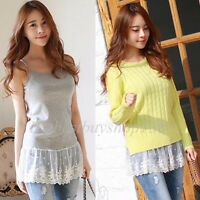 Womens Camisole Long Tank Top Extender Lace Shirt Trim Layering Tank Extenders