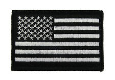 USA American Flag Black and White Tactical Hook & Loop Embroidered Morale Tags