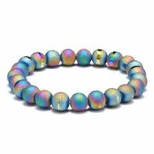 Men Women Natural Gemstone 8mm Colorful Agate Bracelet Elastic Yoga Beads Bangle