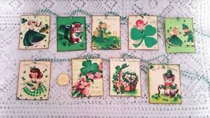 9~St Patrick's Day~Vintage~Retro~Linen Cardstock~Gift~Hang~Tags