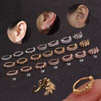 Women Shiny Crystal Nose Ring Ear Stud Hoop Rook Cuff Piercing Body Jewlery