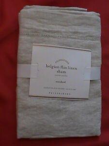 Sham pillow case cover Belgian flax 100% linen standard NWT Pottery Barn