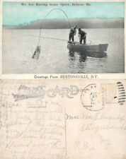 BURTONSVILLE N.Y. FISHING ANTIQUE POSTCARD w/ CORK CANCEL