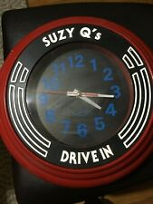 RETRO DINER CLOCK Suzy Q's Drive-In Red FREE SHIP!