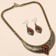 Red Coral Necklace Earring 925 Solid Silver Turkish Boho Necklace Coral Jewelry
