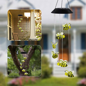 LED Solar Powered Bee Wind Chimes Light Home Garden Hanging Lamp Decor