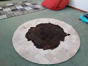 Cowhide rug Round Patchwork Brown White 4x4ft cow hide, Cow print Skin Leather