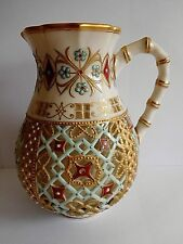 19TH CENTURY ROYAL WORCESTER OWEN MANNER PIERCED RETICULATED JUG WITH JEWELLING
