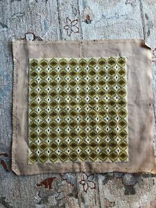 Retro Cushion Cover Tapestry Antique Geometric Green Wool & Canvas Unmade Linen