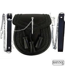 schwarzes Leder schottisch Kilt Sporran mit Stift Verschluss & Quasten
