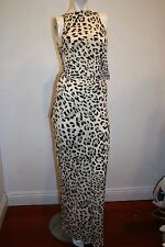 NEW INDAH ANIMAL PRINT MAXI  DRESS BODY CON SLEEVELESS SIZE S