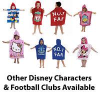 Hooded Cotton Poncho Beach Bath Swim Towel Kids Boy Girls Disney Football FC New