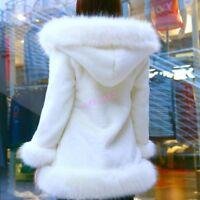 Chic Womens Faux Fur Warm Winter Elegant  Mid Long Parka Coats Jackets Hooded
