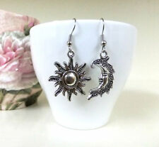 Mismatched Silver Sun and Moon Earrings Celestial Boho Pagan Crescent Moon