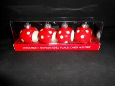 4 Ceramic Red Ornament Napkin Rings by Mud Pie Porcelain Christmas New in Box