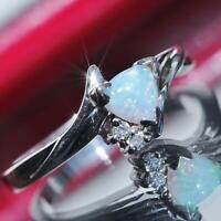 10k white gold ring 0.46ct Australian fiery opal & diamond handmade 2.8gr N2502A