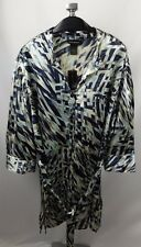 New Lane Bryant Satin Tunic Shirt Size 18W 20W Blue Abstract Belted