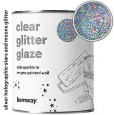 Hemway Clear Glitter Paint Glaze Silver Holographic Stars Moons Walls Wallpaper