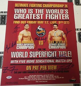 Ken Shamrock Dan Severn Mark Schultz +4 Signed UFC 9 16x20 Photo Poster PSA/DNA