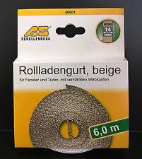 (1,25€/m) Schellenberg 46001 Rolladengurt beige, Mini, 14 mm, 6,0 m