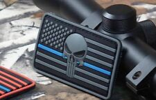 Thin Blue Line Flag American Sniper 3D Punisher Skull DEVGRU PVC PATCH GREY