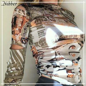 Medium Size spring autumn trend female tshirt Gothic fashion casual crop top tee
