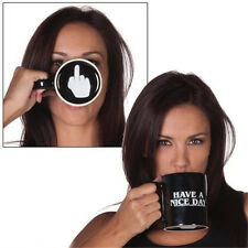 Novelty Funny Gift Black Cups Creative Middle Finger Ceramic Coffee Mug Cup