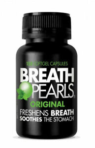 New 150 Cap Breath Pearls Breath Freshener Soft Gel Capsules Swallowable Herbal
