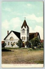 Newkirk Oklahoma~First ME Church~Cross on Steeple~Small Trees in Front~1909