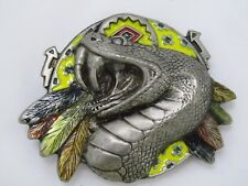 Vintage Snake and Feathers South Western Belt Buckle