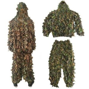 3D Ghillie Hunting Suit Set Sniper Train Leaf Jungle Forest Camouflage Clothes