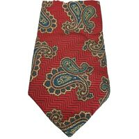 Hathaway Mens Tie 100% Silk Red Paisley Made In The USA Classic Neckwear Necktie