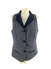 Coldwater Creek Vest Sleeveless Shirt Blue Striped Lined Women's  Size 8