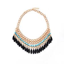 Women Crystal Chunky Statement Bib Pendant Chain Choker Necklace
