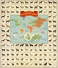 Official Pictorial Dog Map of the World Mid-century Wall Art Poster Print Decor