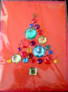 Papyrus Gemmed Jeweled Christmas Tree Holiday Greeting Card