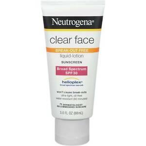 Neutrogena Sunscreen CLEAR FACE Break-out Free Liquid Lotion SPF 30 3oz