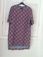 Lovely Navy Blue And Pink Flower Patterned Loose Fit Dress ASOS Size 10