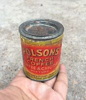 VINTAGE POLSON'S FRENCH COFFEE ADV. TIN BOX