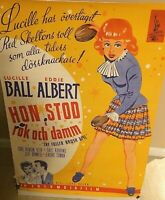 "LUCILLE BALL ULTRA RARE 1951 SWEDISH ORIGINAL ""THE FULLER BRUSH GIRL"" POSTER!!!"