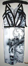 Versace Bodycon Baroque Dress with Contrast Buckle Straps IT40 UK8 EU36 US4