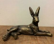 Cold Cast Bronze Reflections Lying Hare Statue Ornament Sculpture 28616