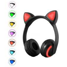 LED Sans fil Bluetooth Casque Oreille de chat Stéréo Bass Écouteurs w/micro P4D3