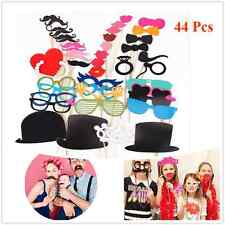 44pcs Photo Booth Props Moustache on A Stick Birthday Wedding Party Fun