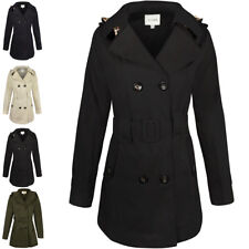 Womens Ladies Double Breasted Mac Belted Coat Canvas Smart Jacket Trench Parka Black Button Cotton Duffle Toggle Rain Girls School M - UK Size 12