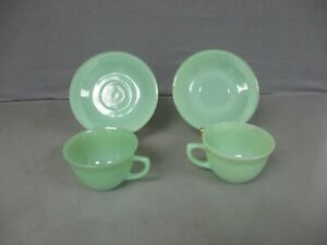 2 ANCHOR HOCKING FIRE KING JADE-ITE JANE RAY CUPS & SAUCERS