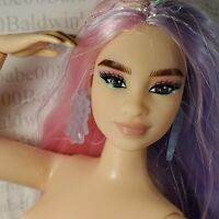 (H14)~ NUDE BARBIE EXTRA #2 PINK PURPLE HAIR ARTICULATED CURVY MBILI DOLL 4 OOAK