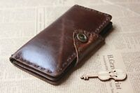 Genuine Leather Men's Purse Classic Style Brown Bifold Wallet Men Long Pocket
